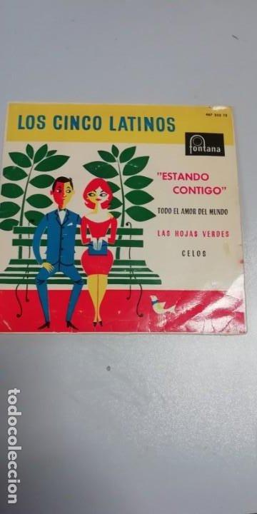 DISCO DE VINILO SINGLES DE LOS CINCO LATINOS-ESTANDO CONTIGO-LAS HOJAS VERDES- (Música - Discos - Singles Vinilo - Grupos Españoles de los 70 y 80)