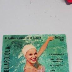 Discos de vinilo: JOSE GUARDIOLA - FESTIVAL BENIDORM, EP, ENAMORADA + 3, AÑO 1961. Lote 214518170
