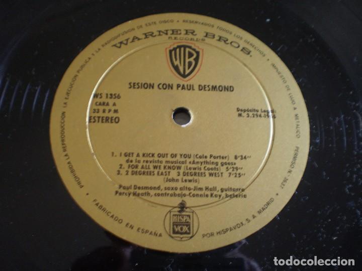 Discos de vinilo: LP. SESION CON PAUL DESMOND. AÑO 1966. BUENA CONSERVACION - Foto 2 - 214563932