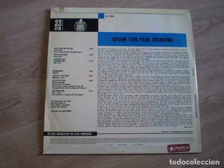 Discos de vinilo: LP. SESION CON PAUL DESMOND. AÑO 1966. BUENA CONSERVACION - Foto 3 - 214563932
