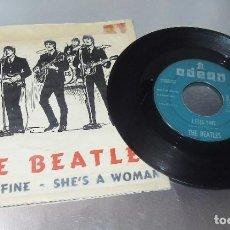 Discos de vinilo: THE BEATLES ----I FEEL FINE & SHE´S A WOMAN --- ORIGINAL 1964 ---LABEL VERDE - VINILO VG++ FUNDA VG. Lote 170370440