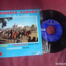Discos de vinilo: SINGLE , NIÑO DE LA HUERTA,ROMERÍA LOREÑA,VOLABA UNA MARIPOSA,UN SOLDADO HERIDO, FANDAN , VER FOTOS. Lote 214572561