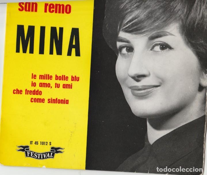 45 GIRI EP MINA FESTIVAL DE SANREMO 1961 LE MILLE BOLLE BLU' FRANCE LABEL FESTIVAL (Música - Discos de Vinilo - Maxi Singles - Otros Festivales de la Canción)