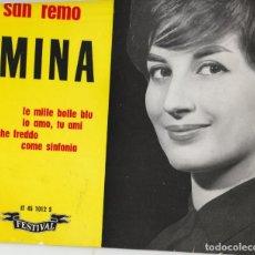 Discos de vinilo: 45 GIRI EP MINA FESTIVAL DE SANREMO 1961 LE MILLE BOLLE BLU' FRANCE LABEL FESTIVAL. Lote 214644837
