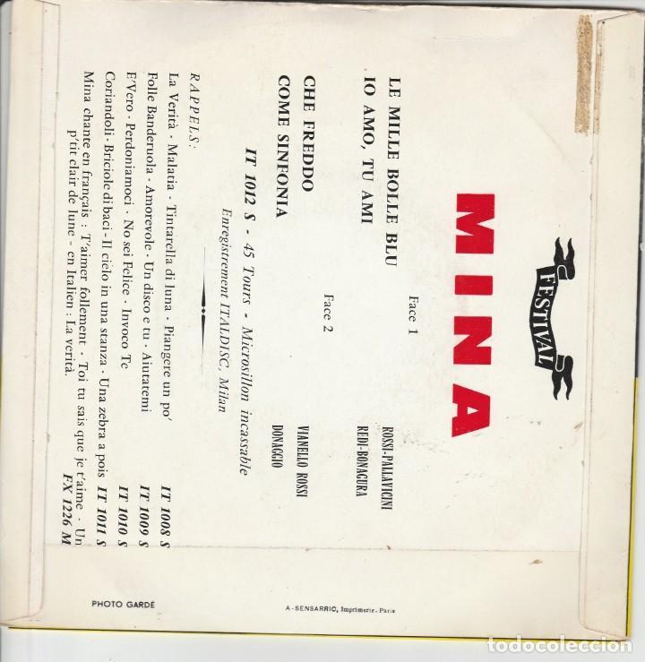 Discos de vinilo: 45 giri EP Mina festival de Sanremo 1961 le mille bolle blu France label Festival - Foto 2 - 214644837