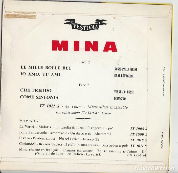 Discos de vinilo: 45 giri EP Mina festival de Sanremo 1961 le mille bolle blu France label Festival - Foto 3 - 214644837
