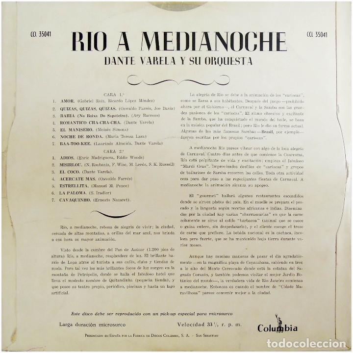 Discos de vinilo: Dante Varela Y Su Orquesta - Rio At Midnight (Rio A Medianoche) - Lp Spain - Columbia CCL 35041 - Foto 2 - 214843336