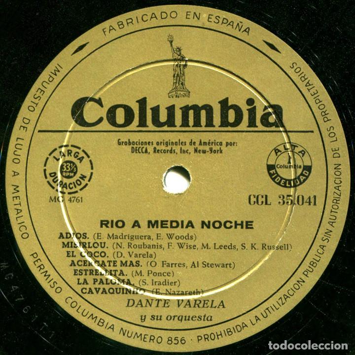 Discos de vinilo: Dante Varela Y Su Orquesta - Rio At Midnight (Rio A Medianoche) - Lp Spain - Columbia CCL 35041 - Foto 3 - 214843336