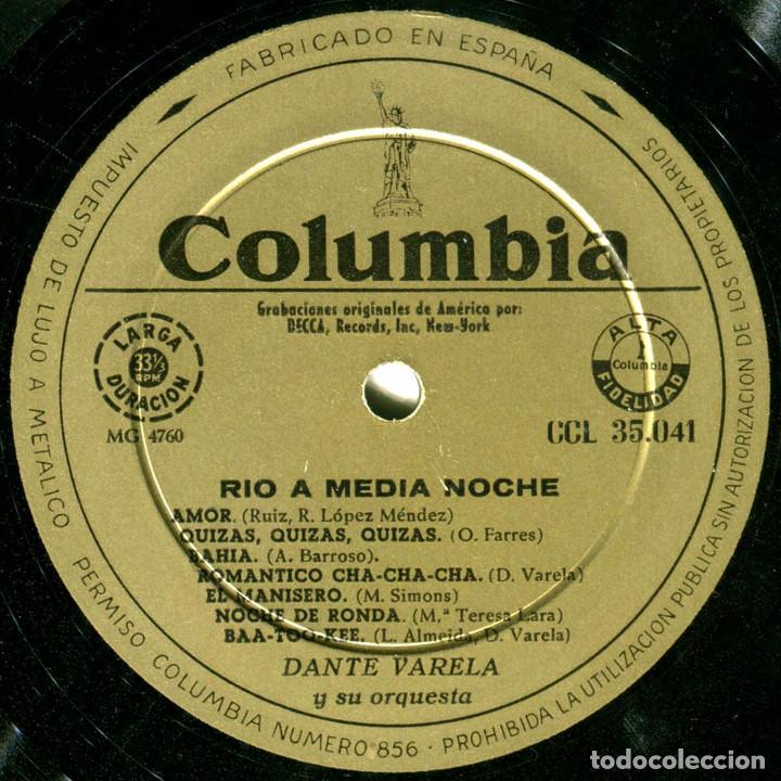 Discos de vinilo: Dante Varela Y Su Orquesta - Rio At Midnight (Rio A Medianoche) - Lp Spain - Columbia CCL 35041 - Foto 4 - 214843336
