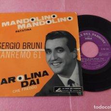 """Discos de vinilo: 7"""" SINGLE - SERGIO BRUNI – MANDOLINO MANDOLINO +3 (SANREMO 61) PORTUGAL PRESS - EP - (VG++/VG++). Lote 214901320"""