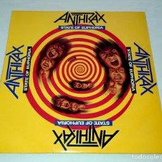 Discos de vinilo: LP ANTHRAX - STATE OF EUPHORIA. Lote 214922852