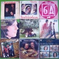 Discos de vinilo: LOTE 9 SINGLES (SANTABARBARA, VICTOR Y DIEGO, TRIGO LIMPIO, SISA, TREBOL, TONY RONALD). Lote 215003260