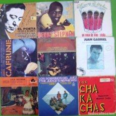 Discos de vinilo: LOTE 9 SINGLES (ATAHUALPA YUPANQUI, JUAN GABRIEL,LOLA BELTRAN,JORGE CAFRUNE, HENRY STEPHEN,FELICIANO. Lote 215009331