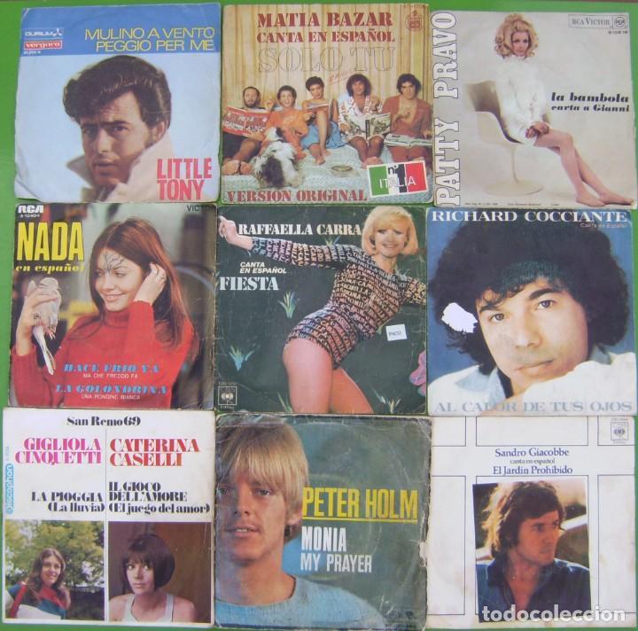 LOTE 9 SINGLES (LITTLE TONY, NADA, PETER HOLM, RICHARD COCCIANTE, RAFFAELLA CARRA, MATIA BAZAR, (Música - Discos - Singles Vinilo - Canción Francesa e Italiana)