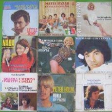 Discos de vinilo: LOTE 9 SINGLES (LITTLE TONY, NADA, PETER HOLM, RICHARD COCCIANTE, RAFFAELLA CARRA, MATIA BAZAR,. Lote 215010900