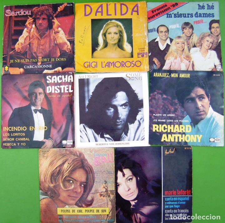 LOTE 8 SINGLES (FRANCE GALL, MARIE LAFORET, RICHARD ANTHONY, MICHEL SARDOU, SACHA DISTEL, HOHENLOHE (Música - Discos - Singles Vinilo - Canción Francesa e Italiana)
