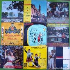 Discos de vinilo: LOTE 9 SINGLES DE FOLK (JOTAS ARAGONESAS, FOLK VALENCIANO, NAVARRO, GALLEGO). Lote 215022103