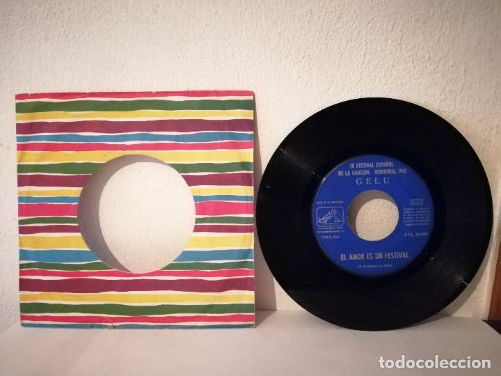 SINGLE - GELU III FESTIVAL ESPAÑOL DE LA CANCIÓN BENIDORM 1961 - SOLISTA MUJER - EL AMOR FESTIVAL (Música - Discos - Singles Vinilo - Otros Festivales de la Canción)