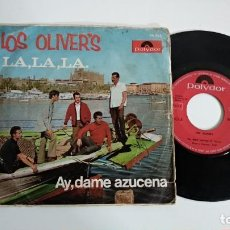 Discos de vinilo: SINGLE-LOS OLIVER´S-LA,LA,LA.-1962-SPAIN-PORTADA REGULAR VINILO CON MARCAS-MUY RARO-. Lote 215102401