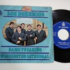 Discos de vinilo: SINGLE-LOS BOHEMIOS-DAME TU CARIÑO-1967-SPAIN-EXCELENTE CONDICIONES-. Lote 215102758