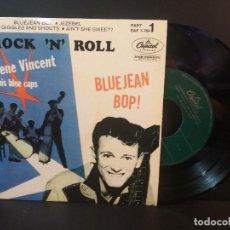 Discos de vinilo: GENE VINCENT BLUE JEAN BOP + 3 EP SPAIN PEPETO TOP. Lote 215124253