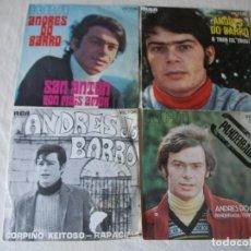 Disques de vinyle: LOTE DE 4 SINGLES DE ANDRES DO BARRO, PANDEIRADA / O TREN / SAN ANTON / CORPIÑO XEITOSO. Lote 215133755