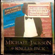 "Discos de vinilo: LOTE 9 SINGLES PACK MICHAEL JACKSON VINILOS 7"" COLOR ROJO THRILLER OFF THE WALL BILLIE JEAN 1984. Lote 215278746"