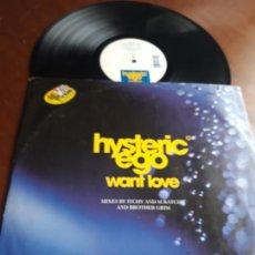 Discos de vinilo: HYSTERIC EGO ?– WANT LOVE- WEA ?– WEA070T, EGO RECORDS -UK-1996-. Lote 215282163