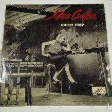 """Discos de vinilo: EDITH PIAF LP 10"""" MEA CULPA LA VOZ DE SU AMO 1958. Lote 215369350"""