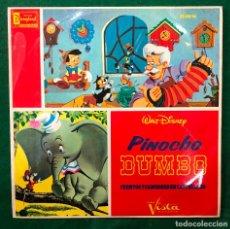 Discos de vinilo: PINOCHO + DUMBO CUENTOS Y CANCIONES EN CASTELLANO BSO LP DE 1966 DISNEY DISNEYLAND RF-8492. Lote 215513830