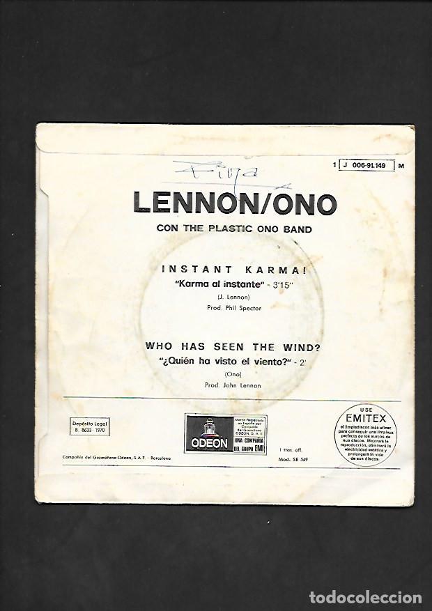 Discos de vinilo: LENNON / ONO INSTANT KARMA !, ODEON J 006 - 91.149 - Foto 2 - 215517935