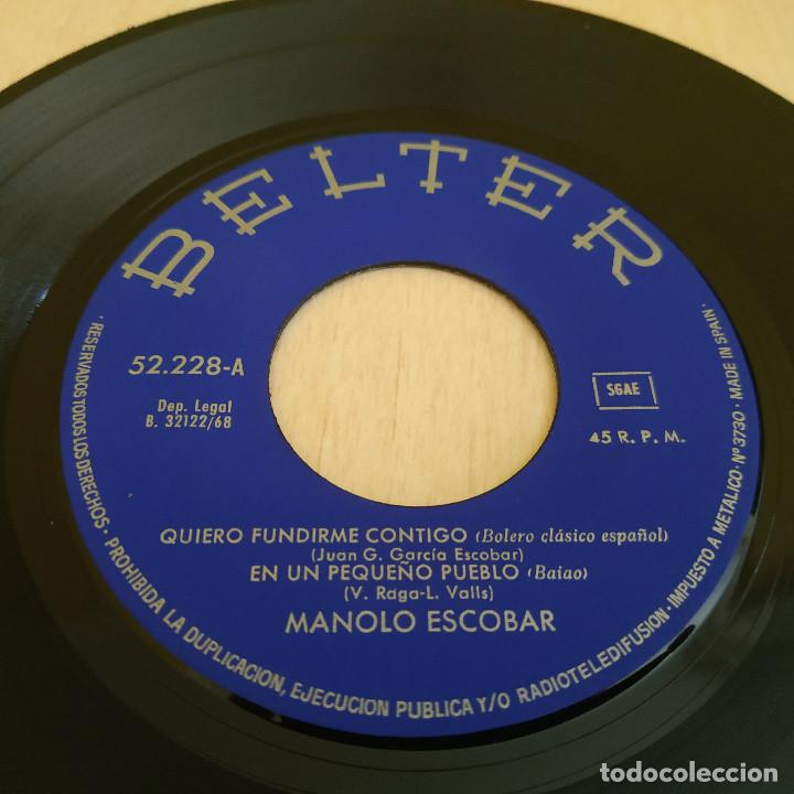 Discos de vinilo: MANOLO ESCOBAR - QUIERO FUNDIRME CONTIGO + 3 RARO EP DE VINILO BELTER 52.228 DEL AÑO 1968 COMO NUEVO - Foto 3 - 215557333