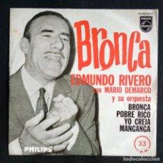 Discos de vinilo: MUY DIFÍCIL - BRONCA SINGLE 1962 (MUY BUEN ESTADO) - EDMUNDO RIVERO Y ORQUESTA MARIO DEMARCO TANGO. Lote 215561172