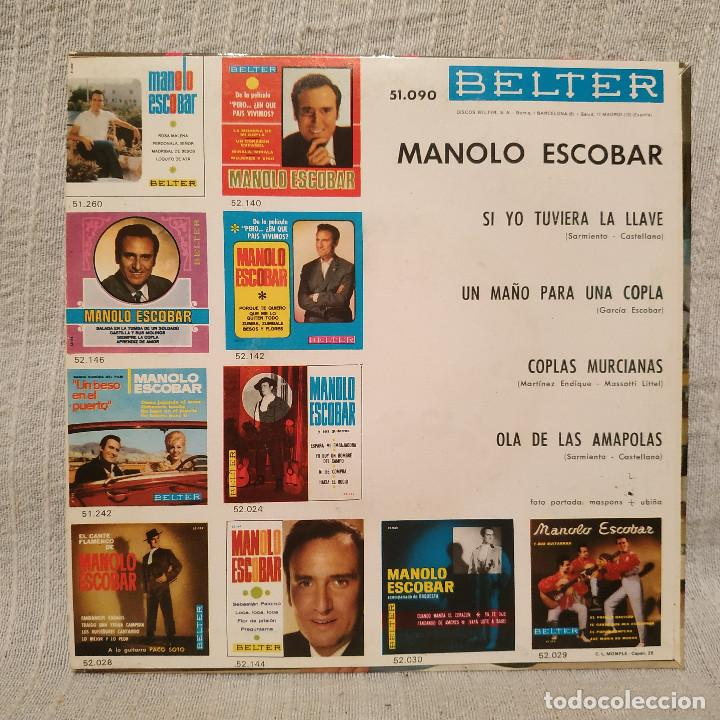 Discos de vinilo: MANOLO ESCOBAR - SI YO TUVIERA LA LLAVE + 3 - RARO EP BELTER DEL AÑO 1964 EN ESTADO COMO NUEVO - Foto 2 - 215585516