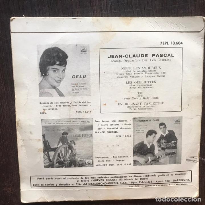 Discos de vinilo: Nous les amoreux. Jean Claude Pascal. Primer Gran Premio eurovision 1961 - Foto 2 - 215642987