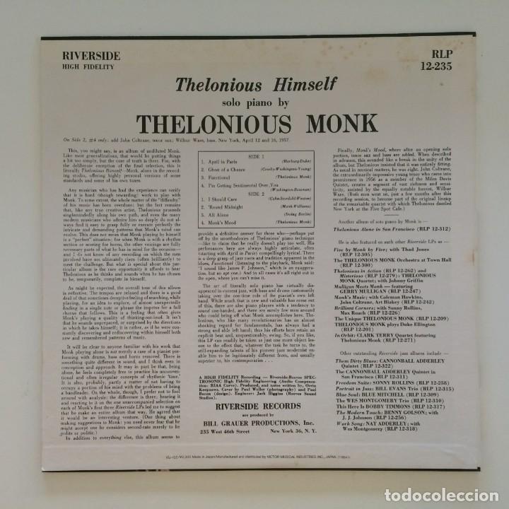 Discos de vinilo: Thelonious Monk – Thelonious Himself Japan 1984 RIVERSIDE RECORDS - Foto 2 - 215723863