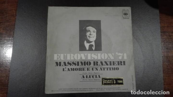 Discos de vinilo: Massimo Ranieri Single Eurovisión 1971 Lamore e un attimo CBS 1971 - Foto 2 - 216428745