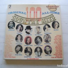 Discos de vinilo: VARIOUS – ORIGINAL 100 ALL-TIME COUNTRY HITS CAJA DE 4 LPS COMO NUEVA. Lote 216442960