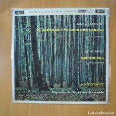 Discos de vinilo: MENDELSSOHN / SCHUBERT - EL SUE�O DE UNA NOCHE DE VERANO / ROSAMUNDA - LP. Lote 216591365