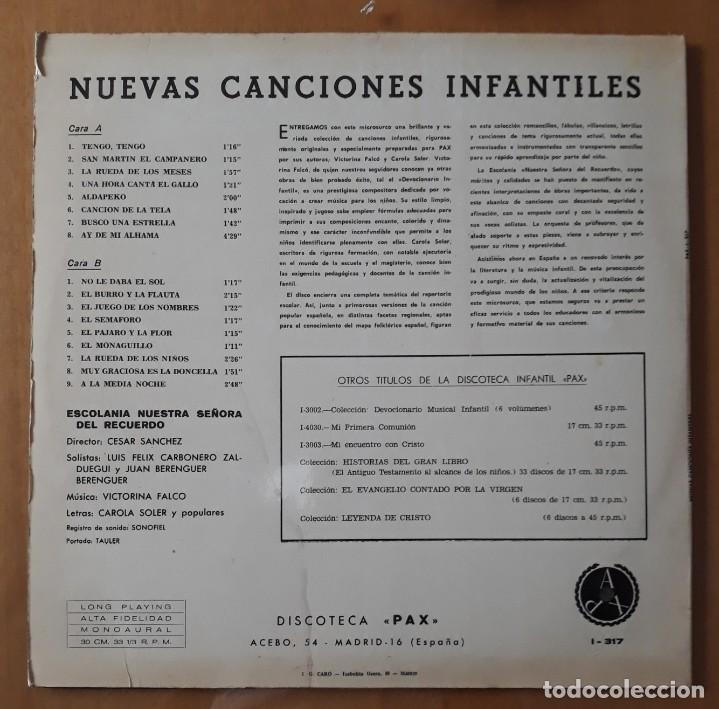 Discos de vinilo: LP NUEVAS CANCIONES INFANTILES. ESCOLANIA NUESTRA SEÑORA DEL RECUERDO. - Foto 3 - 216597276