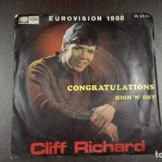 Discos de vinilo: CLIFF RICHARD SINGLE CONGRATULATION HIGH 'N' DRY EUROVISIÓN 1968. Lote 216597355