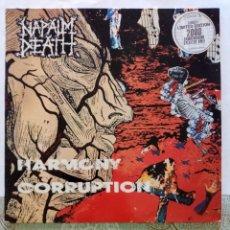 Discos de vinilo: NAPALM DEATH : HARMONY CORRUPTION. 1990. LP. FIRMADO.. Lote 216756087
