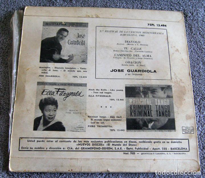 Discos de vinilo: JOSE GUARDIOLA - 2º FESTIVAL DE LA CANCIÓN MEDITERRÁNEA 1960 - EP - Foto 8 - 216858557