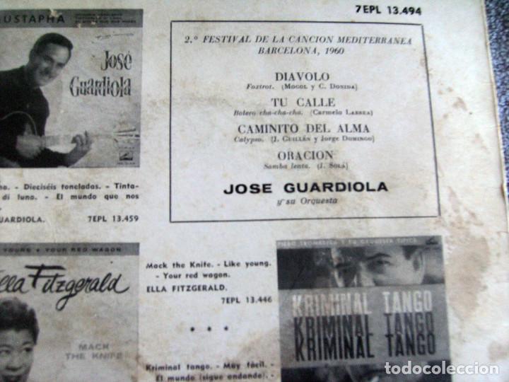 Discos de vinilo: JOSE GUARDIOLA - 2º FESTIVAL DE LA CANCIÓN MEDITERRÁNEA 1960 - EP - Foto 9 - 216858557