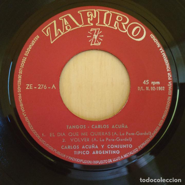 Discos de vinilo: CARLOS ACUÑA - EL DÍA QUE ME QUIERAS / VOLVER / TOMO Y OBLIGO / LA CIEGUITA - EP 1962 COMO NUEVO - Foto 3 - 216863013