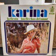 Disques de vinyle: KARINA - LA FIESTA / LAS FLECHAS DEL AMOR - SINGLE DEL SELLO HISPAVOX 1968. Lote 216872628