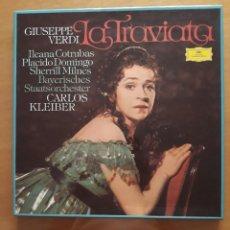 Discos de vinilo: GIUSSEPPE VERDI. LA TRAVIATA. DOS LP EN CAJA MÁS LIBRETO. Lote 216898308