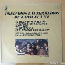 Discos de vinilo: LP PRELUDIOS E INTERMEDIOS DE ZARZUELA N°1. Lote 217030992