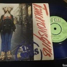 Discos de vinilo: U.K SUBS -TOMORROW GIRLS - SINGLE - PRIMERA EDICIÓN -VINILO AZUL PUNK. Lote 217071600