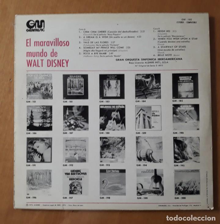 Discos de vinilo: LP EL MARAVILLOSO MUNDO DE WALT DISNEY. GM 1973 - Foto 3 - 217209330